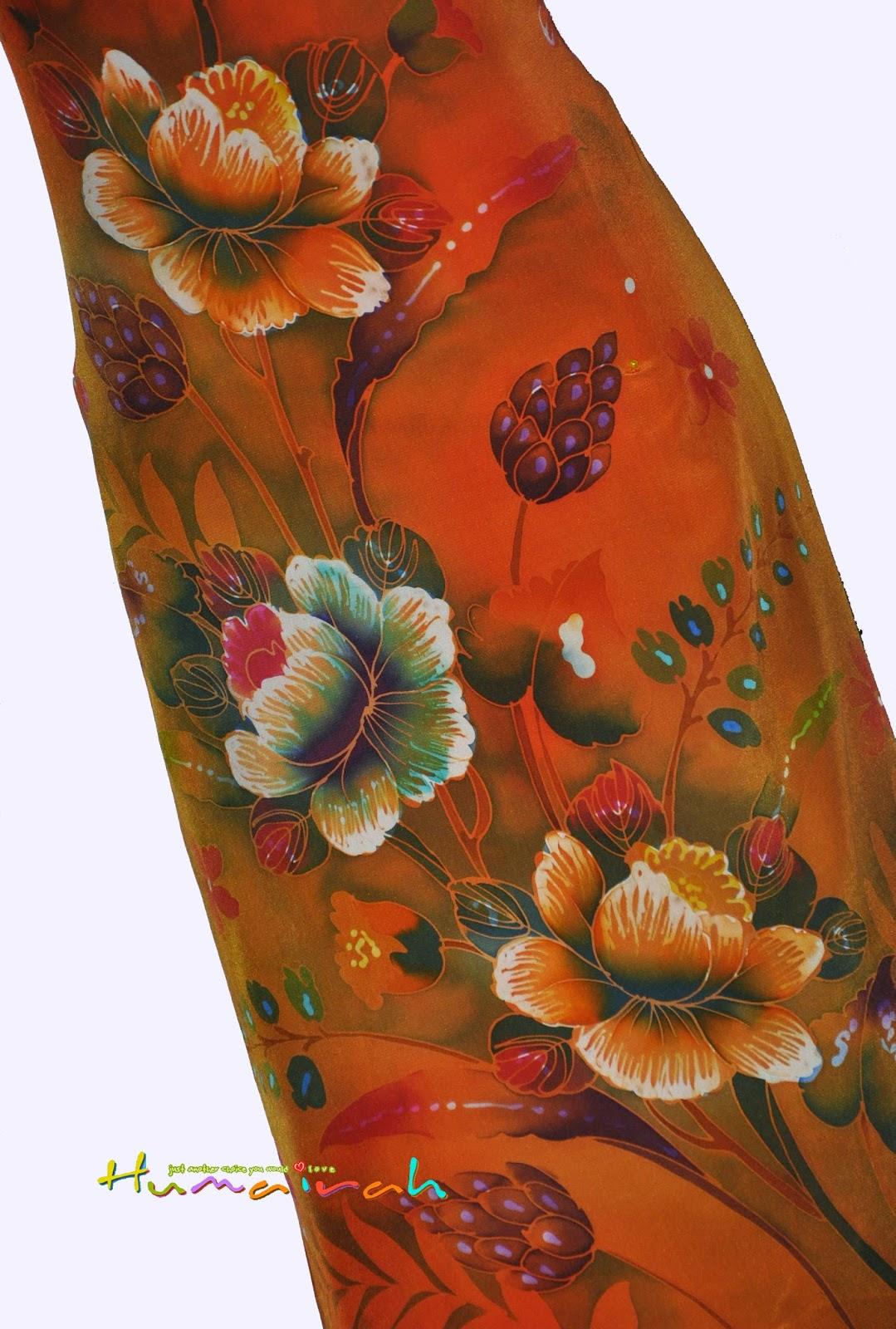 Batik Sutera Handmade Exclusive Bunga Ros Oren 90