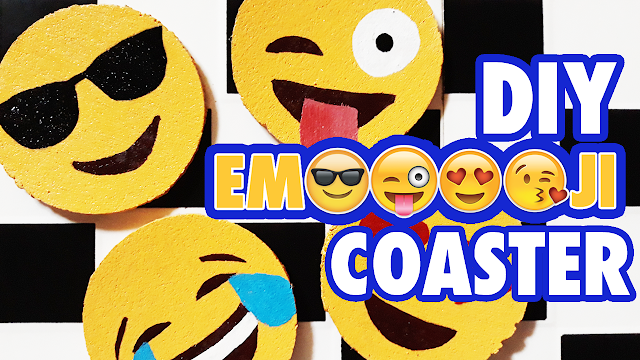 diy emoji cork board coasters