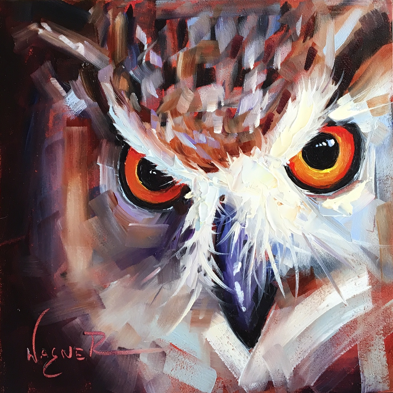 olga paints original contemporary owl painting on panel in oils by