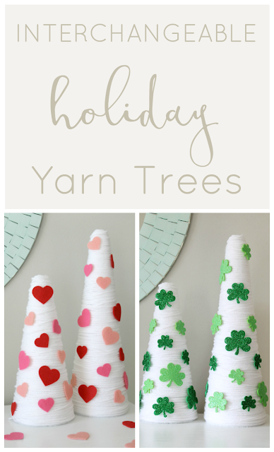 An easy interchangeable holiday DIY- St. Patrick's Day yarn trees.