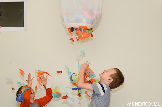 Confetti drop New Year's Eve idea for kids