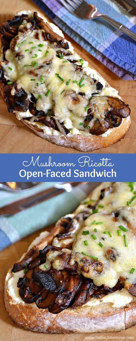 MUSHROOM RICOTTA OPEN-FACED SANDWICH #mushroom #ricotta #sandwich #vegan #veganrecipes #veggies #vegetarianrecipes #easyvegetarianrecipes