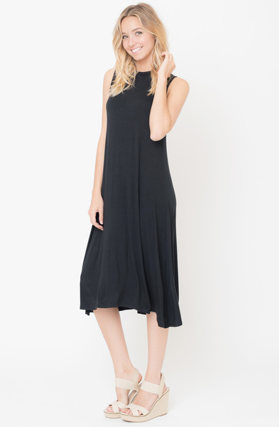 Buy Now Black Solid Swing Tank Midi Dress Online