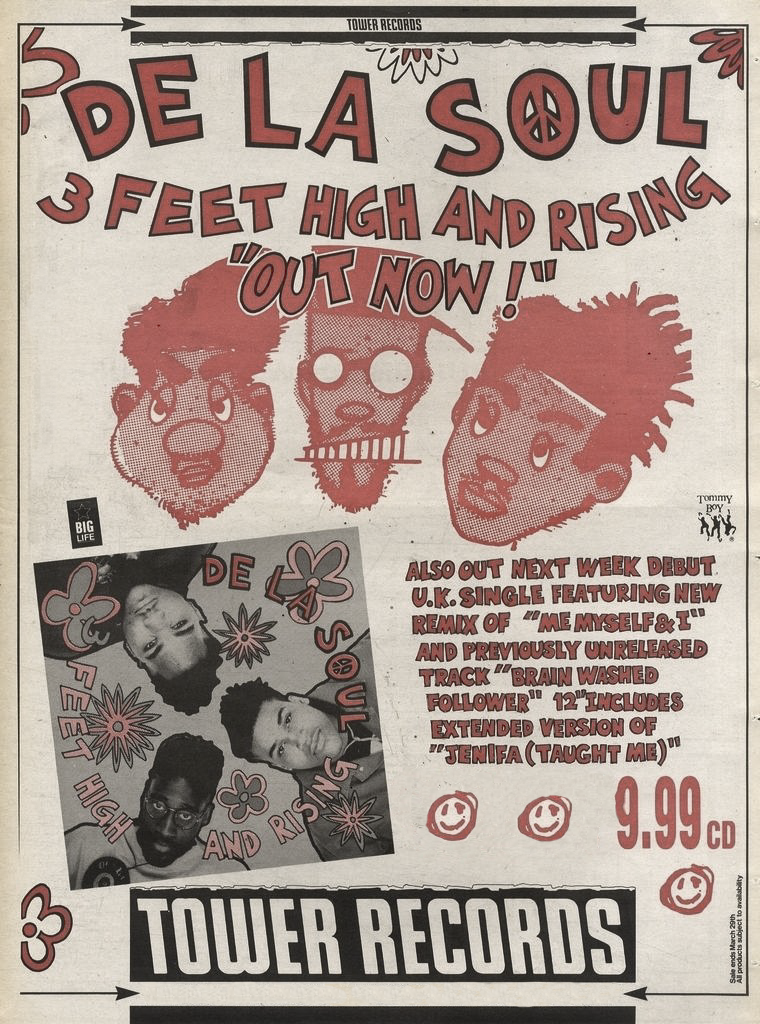 De La Soul 3 Feet High & Rising Tower Records Advert