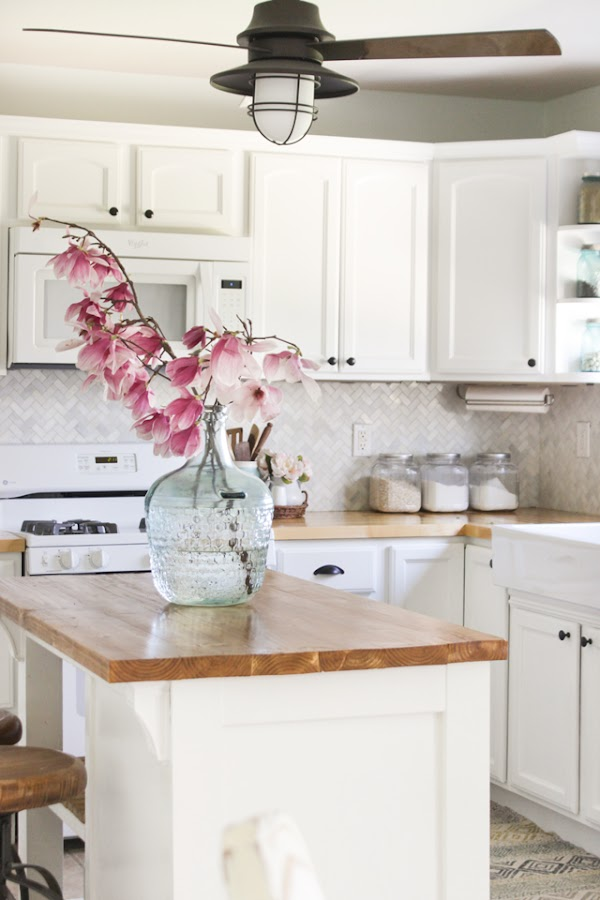 White kitchen redo with butcher block