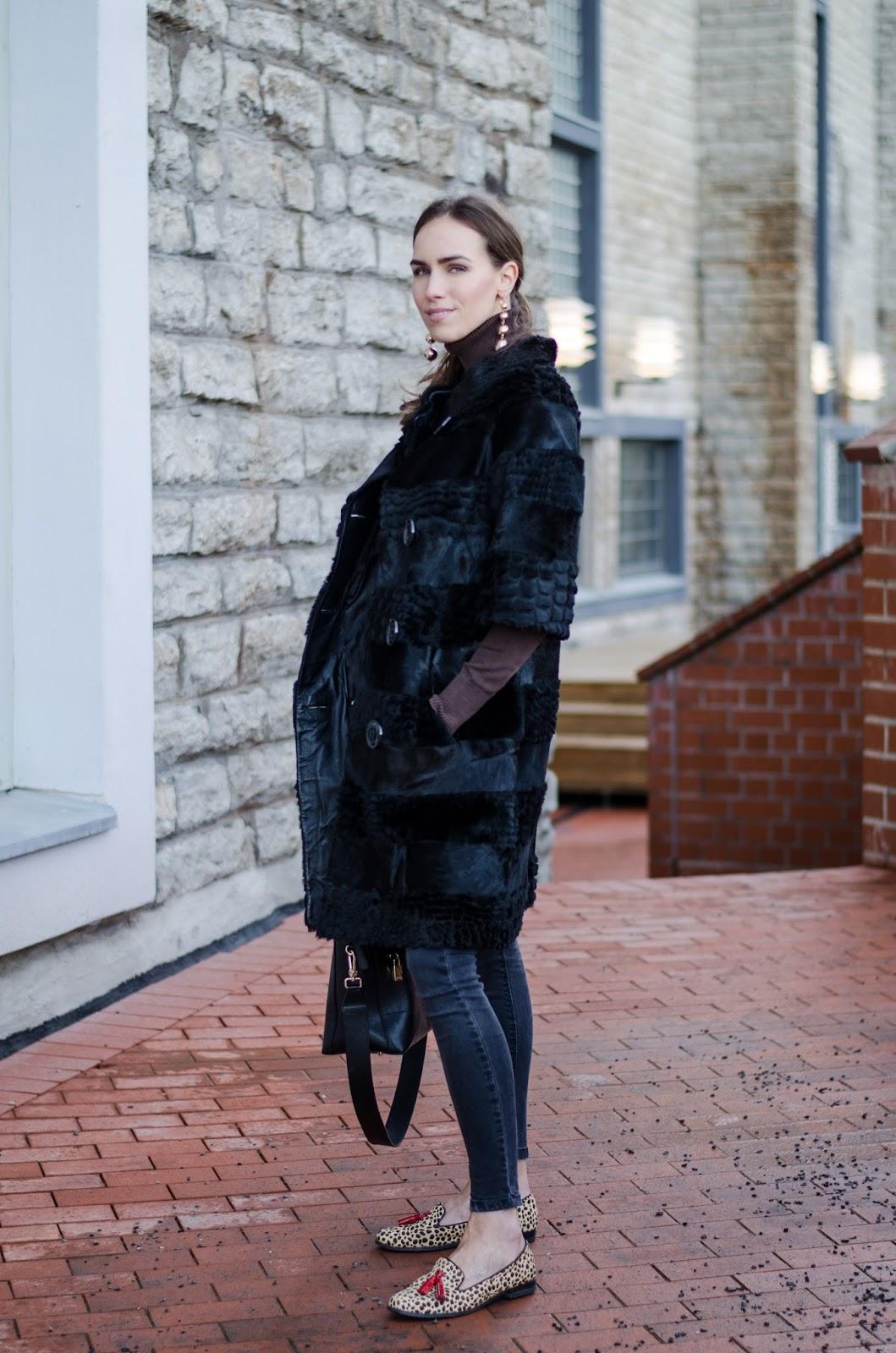 kristjaana mere black fur coat outfit