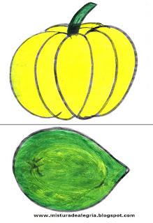 Desenho de abóbora e manga
