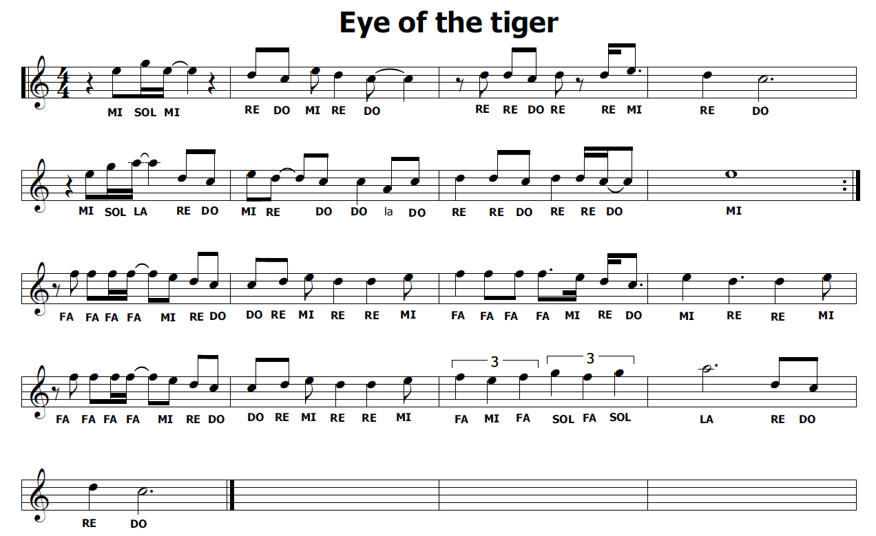 abbastanza Musica e spartiti gratis per flauto dolce: Eye of the tiger ROCKY III EC61