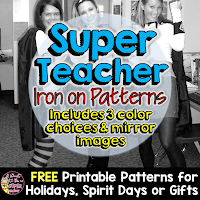 FREE Super Teacher Iron-on Patterns in green, pink, and blue - a simple and easy idea for Halloween!