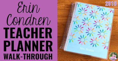 "Teacher planner photo with text, ""Erin Condren Teacher Planner Walk-Through 2018."""