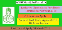Rashtriya Chemicals and Fertilizers Limited Recruitment 2018– 154 Trade Apprentice & Diploma Trainee