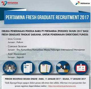 Lowongan Kerja PT. Pertamina Persero Ditutup 17 Januari 2017