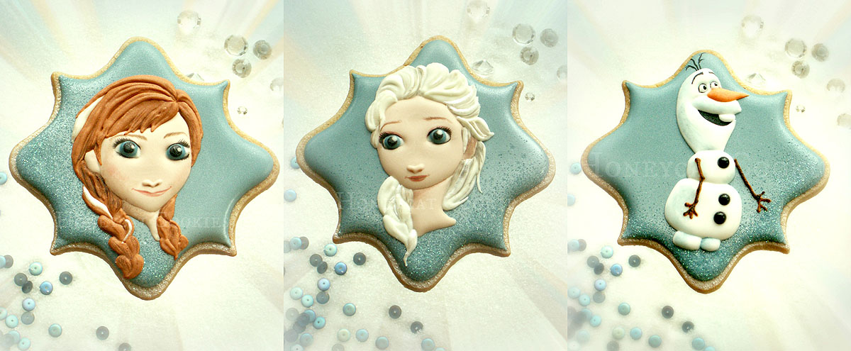 Disney's Frozen Anna, Elsa and Olaf on decorated cookies, photo by Honeycat Cookies