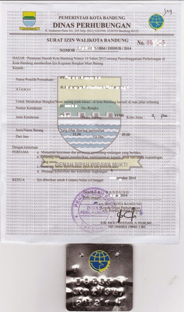 Mega-BiroJasa-Surat Ijin Bongkar Muat untuk kendaraan penumpang/barang