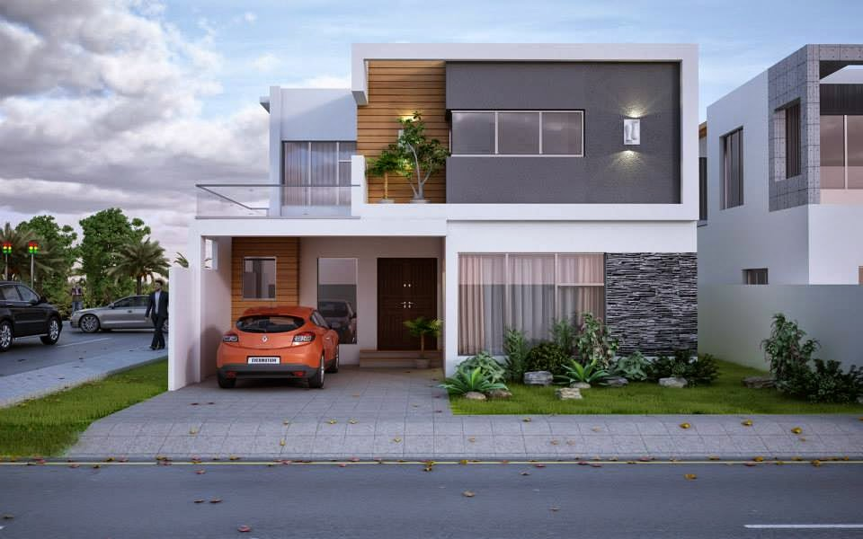 3d Front Elevation Of 5 Marla Houses : New modern marla house design d front