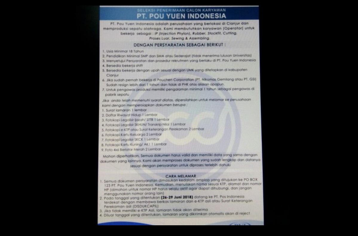 Lowongan Kerja PT. POU YUEN INDONESIA Kabupaten Cianjur