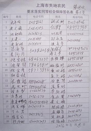 """中国民主党迫害观察员:上海市46万""""镇保""""失地农民的115名代表上海市社保局第18次维权(图)"""