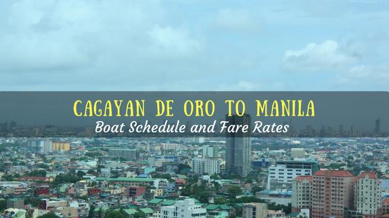 Cagayan de Oro to Manila boat schedule