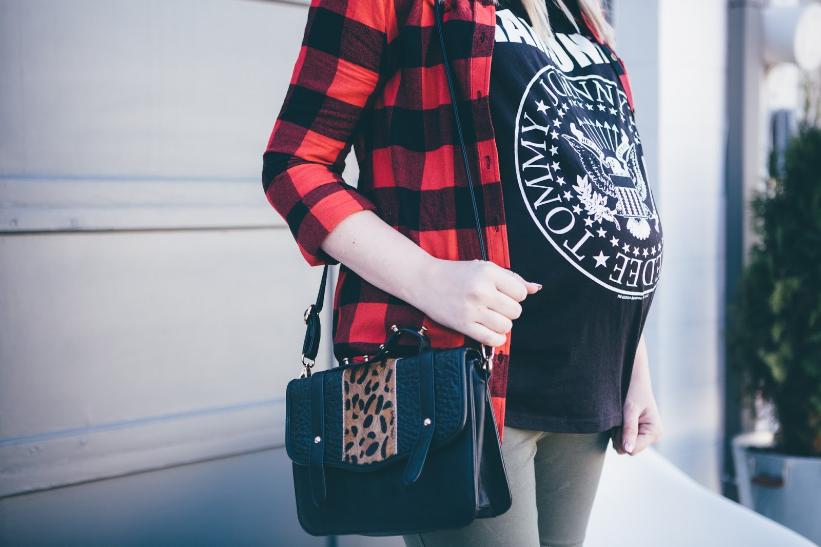 Leopard Cross Body Bag, Plaid Top, Utah Fashion Blogger