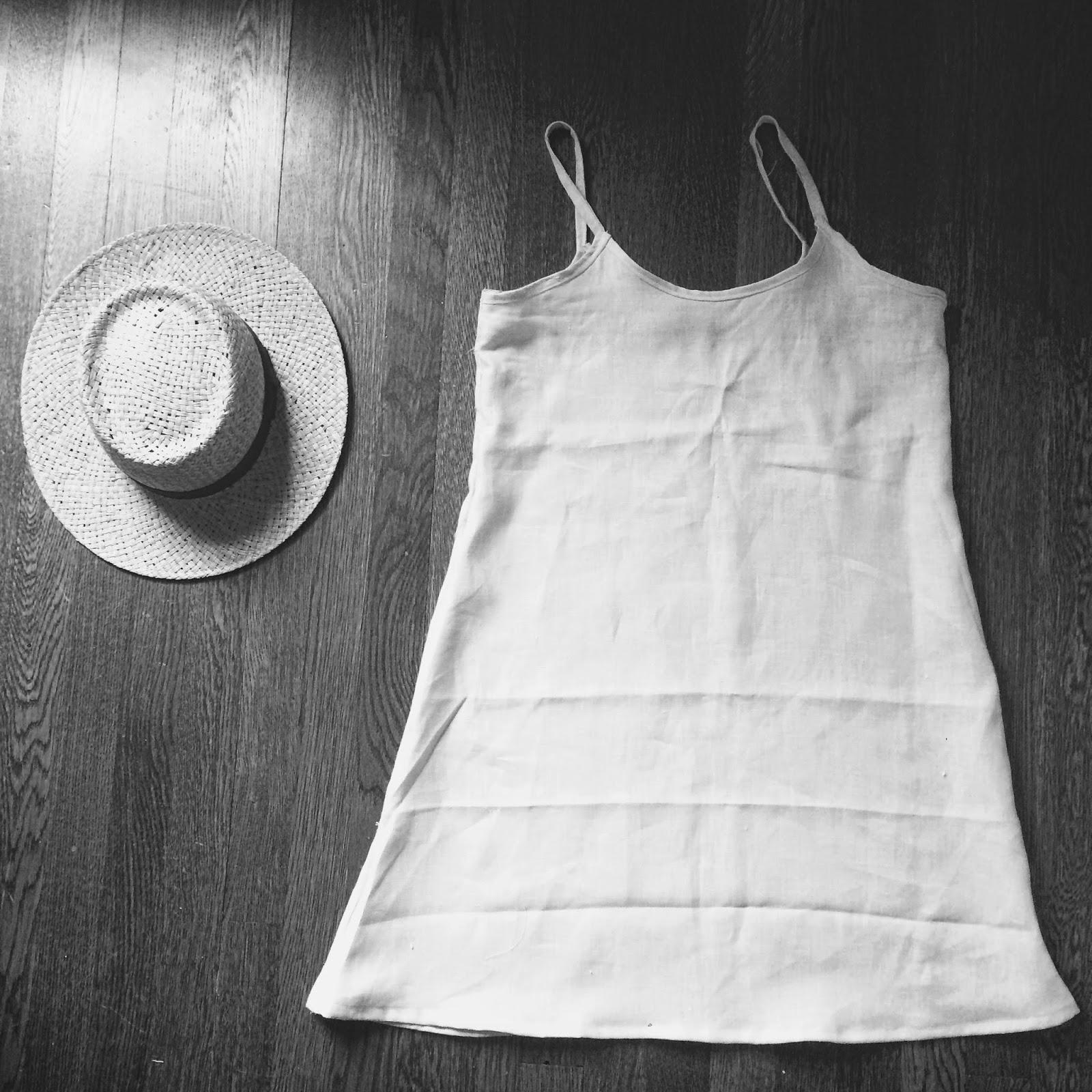 Cream Linen Simple Slip Dress