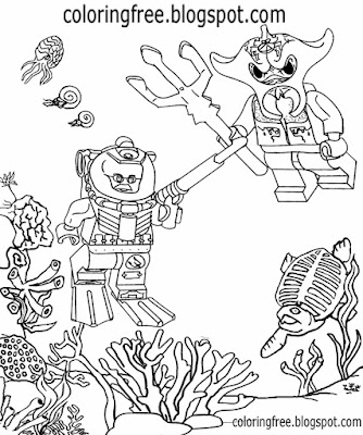 Diver ocean monster under the sea Lego city printable activities for teenagers to draw and color in