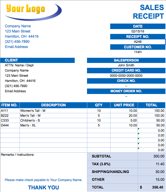 shipping sales invoice in ms excel download