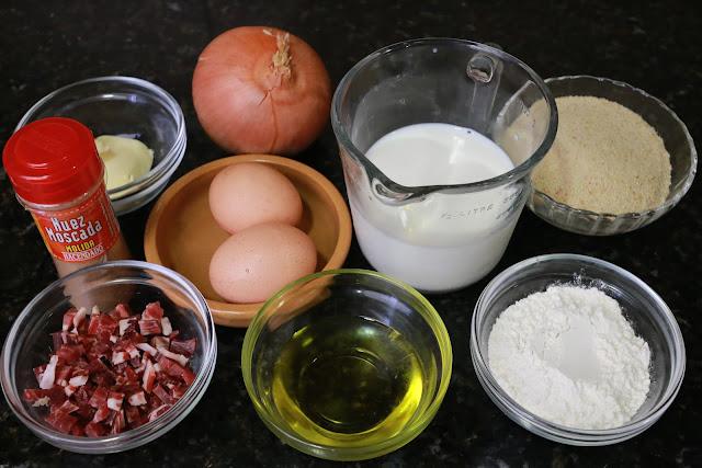 Ingredientes para croquetas de jamón y huevo duro