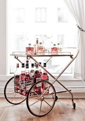 Bar carts in brass style via belle vivir blog