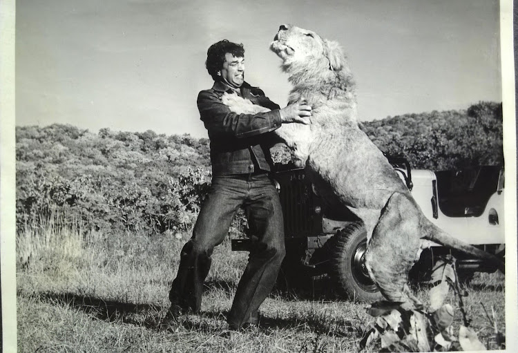 Dharmendra with a Lion