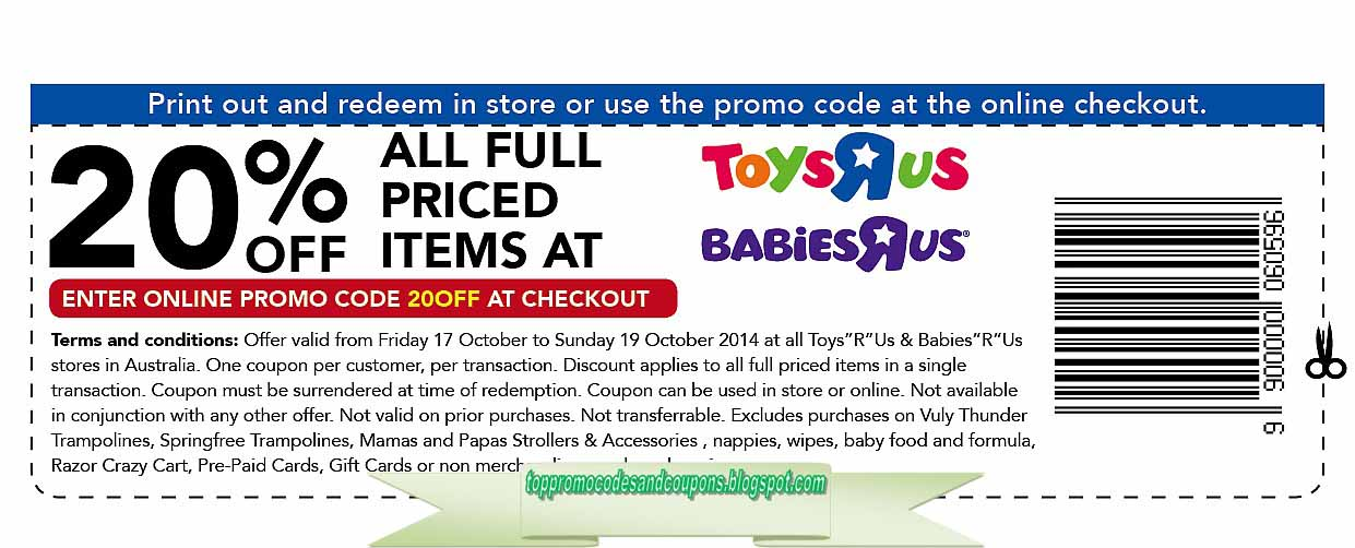 photograph regarding Babies R Us 20 Off Coupon Printable referred to as Absolutely free Promo Codes and Discount coupons 2019: Toddlers R Us Coupon codes