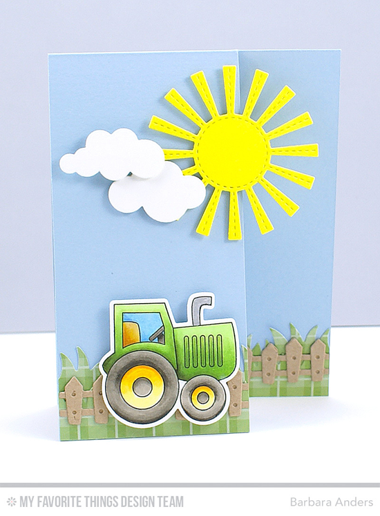 Sunny Day Card by Barbara Anders featuring the Farm-tastic stamp set and Die-namics and the Sunny Skies, Farm Fence, and Puffy Clouds Die-namics #mftstamps