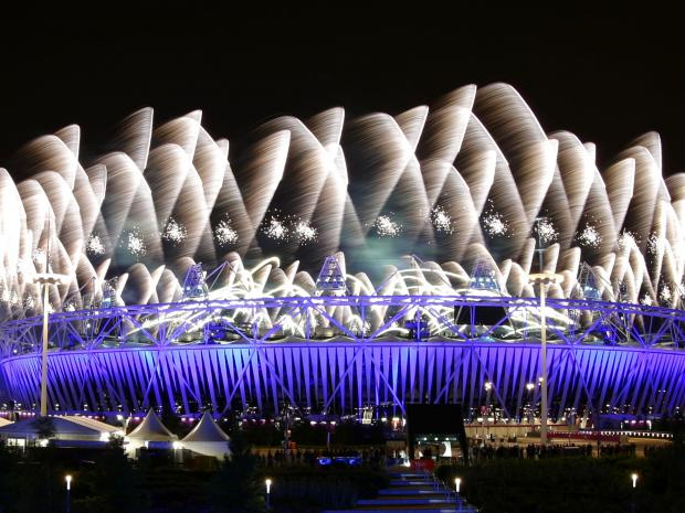 Fireworks explode over the Olympic Stadium during the opening ceremony of the London 2012 Olympic Games REUTERS/TIM WIMBORNE