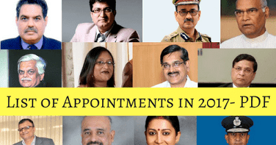 list of new appointments in india 2017 pdf