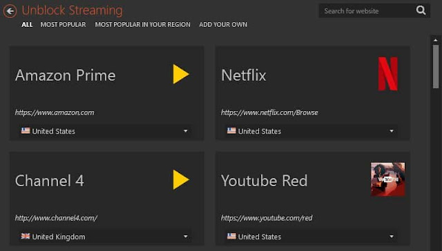 ميزات كاملة في Netflix CyberGhost VPN