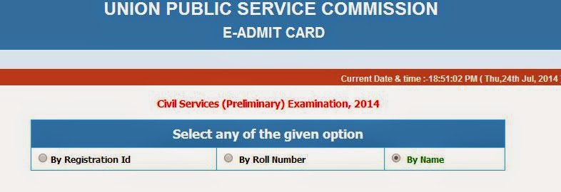 CIVIL SERVICES (PRELIMINARY) EXAMINATION, 2014  E-ADMIT CARD