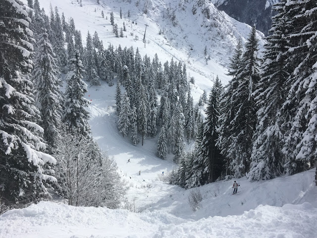A steep and technical off piste section off Les Bols - La Plagne