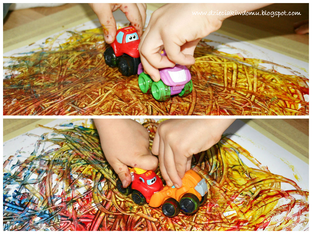 malowanie samochodzikami - kreatywna zabawa dla dzieci