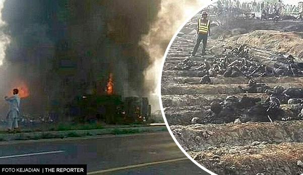 153 mangsa rentung ketika cuba mengambil minyak tumpah dari lori tangki terbabas yang tiba-tiba meletup