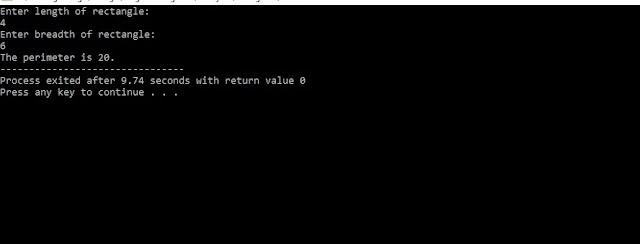 C program to find perimeter using function
