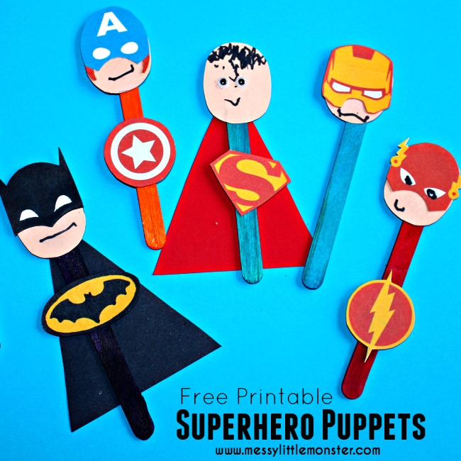 Superhero puppet craft for kids.  FREE PRINTABLE Batman, Superman, Spiderman, Ironman, Flash, Captain America masks and badges.