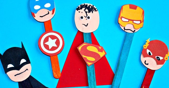 Superhero Puppet Craft with Free Printable - Messy Little Monster