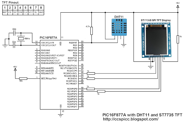 PIC16F877A with DHT11 sensor and ST7735 SPI TFT display circuit