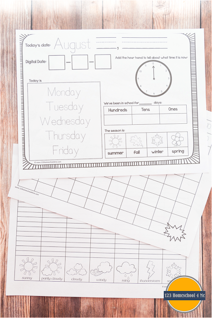 FREE Kindergarten Daily Calendar - LOVE these! Perfect for teaching kids days of the week, months, counting to 100, graphing weather, seasons, telling time to the hour, place value, and so much more in a fun, routine. (homeschool, Kindergarten)