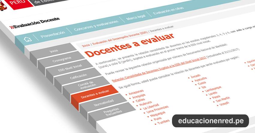 MINEDU: Relación consolidada de docentes a evaluar en las escalas magisteriales 3, 4, 5 y 6 - Evaluación del Desempeño Docente (Actualizada al 21/11/2017) www.minedu.gob.pe
