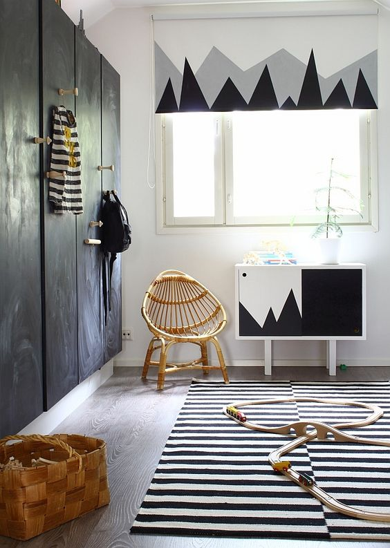 Cool kids room in monochrome - blackboard closet