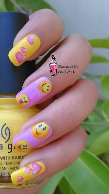 Heart smiley nail art