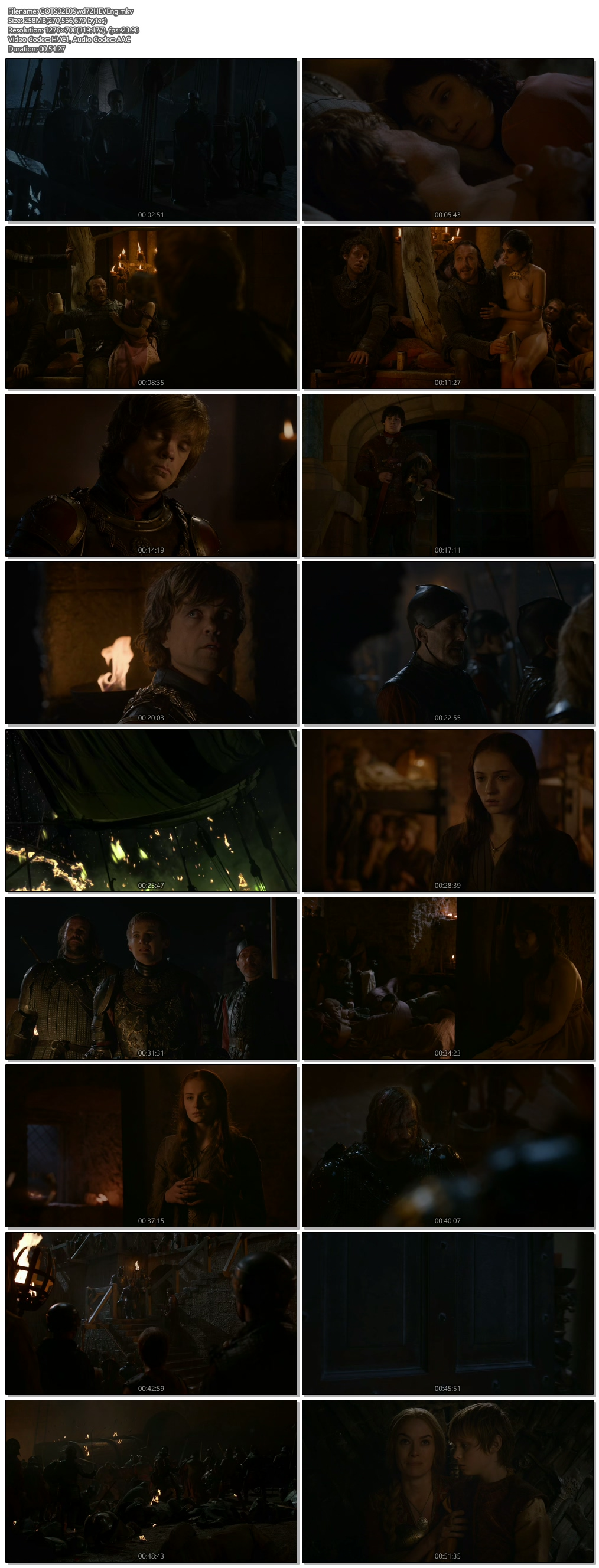 Screenshots Of Hindi Dubbed Show Game of Thrones 2012 Season 02 Episode 09 300MB 720P HD