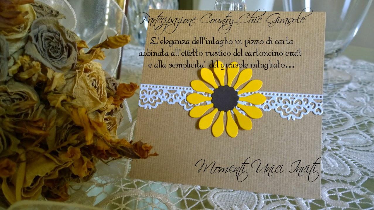 sa Collezione Country Chic mod. SunflowerPartecipazioni shabby chic - country - vintage Tema Girasole