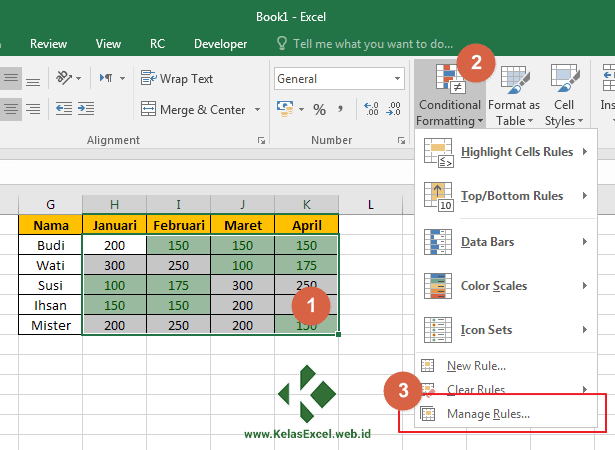 Cara Mengubah Setting Conditional Formatting Excel