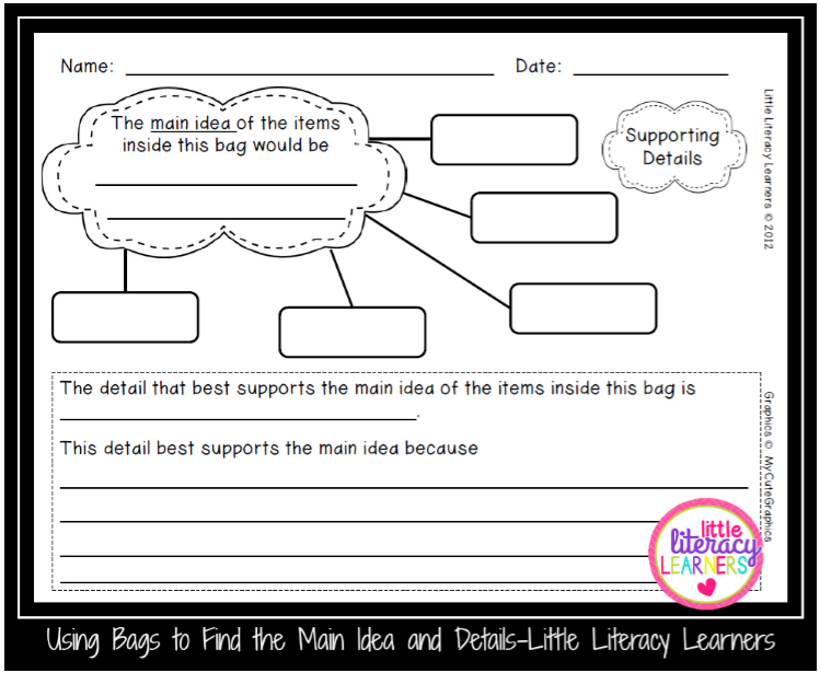 Little Literacy Learners Using Bags To Find The Main Idea